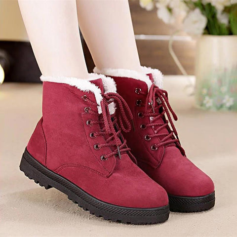Women Winter Classic Warm Fur Plush Insole Ankle Heels Suede Lace-Up Boots