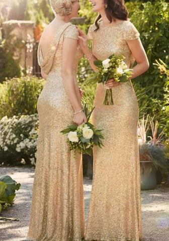 Golden Sequin Draped Backless Sparkly Bridesmaid Elegant Cocktail Party Maxi Dress