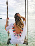 ByChicStyle Casual Chicnico White backless Colorful Ball Beach Cover Up Cape