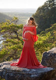 ByChicStyle Red Draped Off Shoulder Mermaid Big Swing Bell Sleeve Maternity Maxi Dress