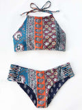 ByChicStyle Casual Boho Sexy Cross Side Floral Print Bikini Set