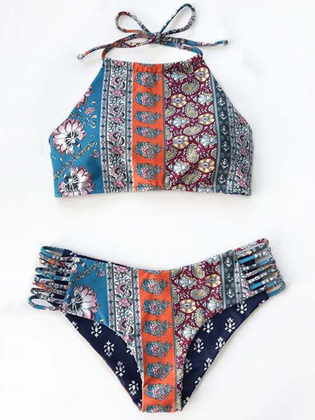 Casual Boho Sexy Cross Side Floral Print Bikini Set