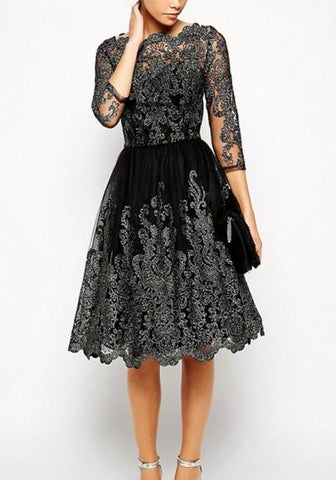 Black Patchwork Lace Embroidery Grenadine Round Neck Tutu Homecoming Party Midi Dress
