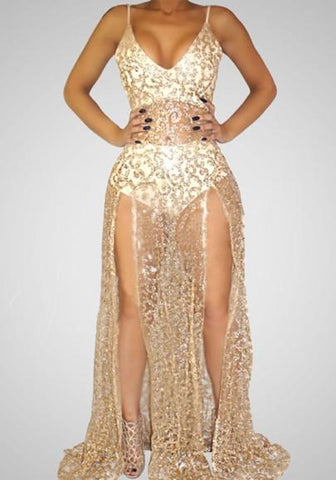 Apricot Gold Plian Sequin V-neck Backless Spaghetti Strap See-Through Slit Club Maxi Dress