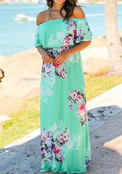 Light Green Flowers Print Bandeau Ruffle Off Shoulder Bohemian Maxi Dress