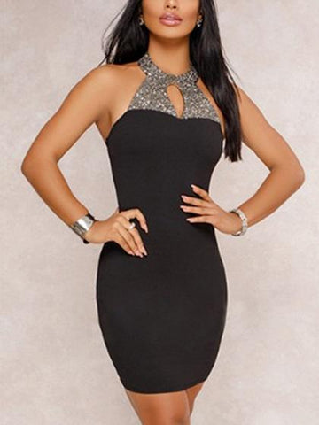 Black Contrast Halter Open Back Bodycon Mini Dress