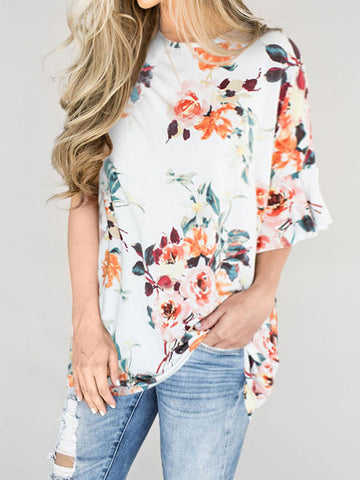 Casual Cute Over Size Round Neckline Floral Print Top