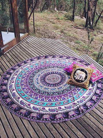 Casual Beach Boho Summer Style Purple Beach Blanket