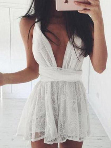 Casual Cute Lace Mini Short Dress