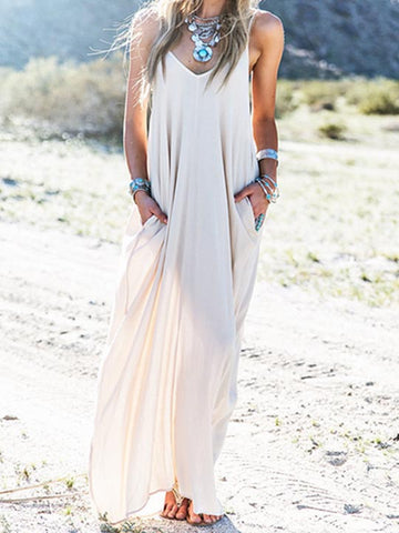 Casual Sexy V neck Beach Halter Solid Color Dress
