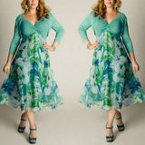 ByChicStyle Green Flowers Print Draped A-line Pleated V-neck Plus Size Bohemian Maxi Dress