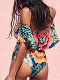 ByChicStyle Casual Flora Print Cute Off Shoulder Bikini Set