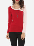 ByChicStyle Casual Assorted Colors Elegant Stylish Round Neck Long-sleeve-t-shirt