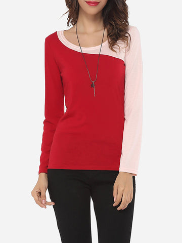 Casual Assorted Colors Elegant Stylish Round Neck Long-sleeve-t-shirt