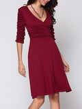 ByChicStyle Casual Plain Captivating V Neck Skater-dress
