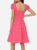 ByChicStyle Casual Round Neck Dacron Polka Dot Skater-dress
