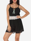 ByChicStyle Casual Assorted Colors Hollow Out Lace Patchwork Zips Captivating Rompers