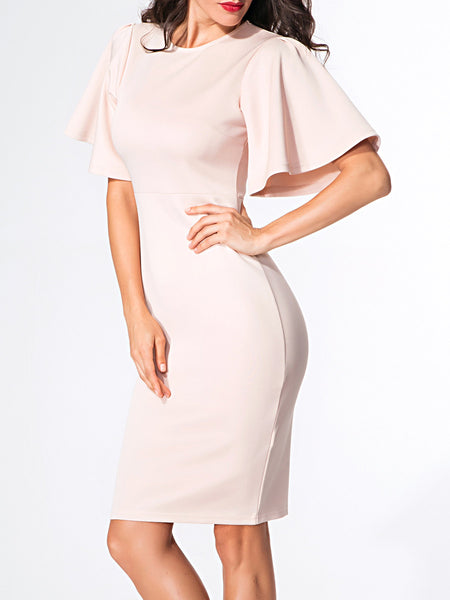 Round Neck Plain Bell Sleeve Bodycon-dress - Bychicstyle.com