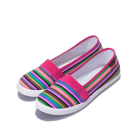 Casual Rainbow Stripe Canvas Flat Slip On Loafers For Women