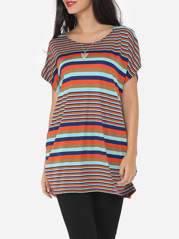 Casual Assorted Colors Printed Striped Modern Round Neck Short-sleeve-t-shirt
