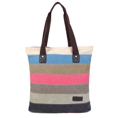 Streetstyle  Casual Women Canvas Hit Color Patchwork Handbag Casual Shoulder Bag
