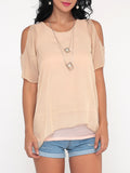ByChicStyle Casual Plain Batwing Delightful Off Shoulder Blouse