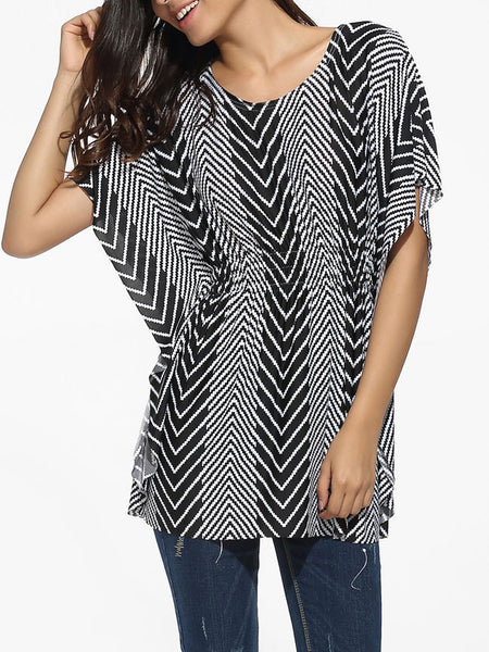 Casual Round Neck Dacron Zigzag Striped Blouse