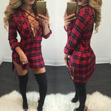 ByChicStyle New Women Red Plaid Bandage Irregular Sides Slits Bodycon Homecoming Teens Mini Dress