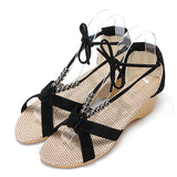 ByChicStyle Casual Suede Beades Wedge Shoes Sandals