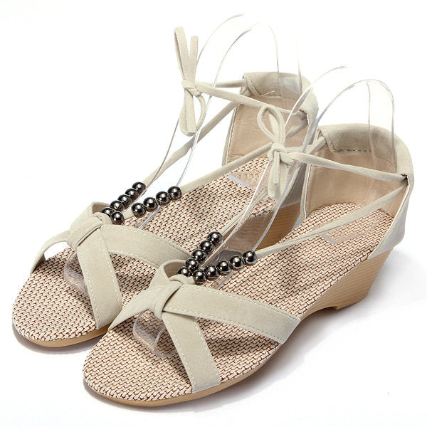 Casual Suede Beades Wedge Shoes Sandals