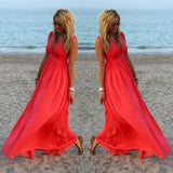 Women Sexy V-Neck Summer Dresses Boho Casual Loose Chiffon Beach