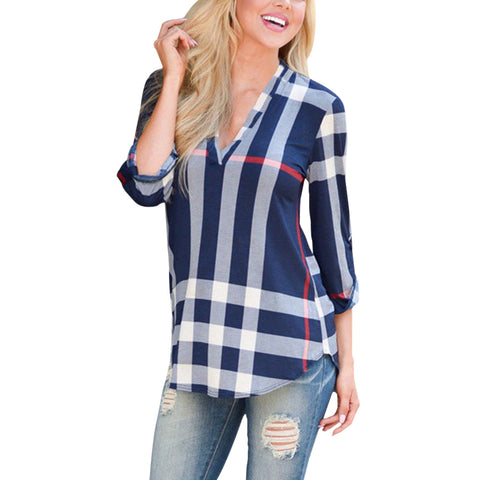 Autumn Fashion Top V Neck Tops Plaid Women Blouse Shirt Three-quarter Sleeve Blouses