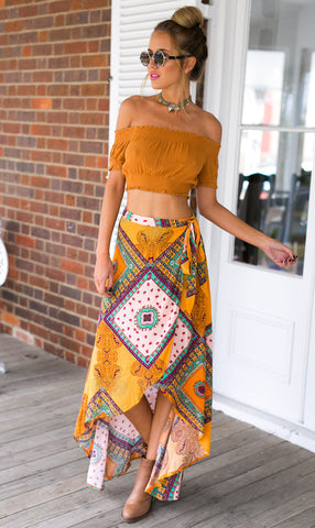Casual American Style Summer Bohemia Floral Print Skirt Beach High Waist Maxi Long Skirt