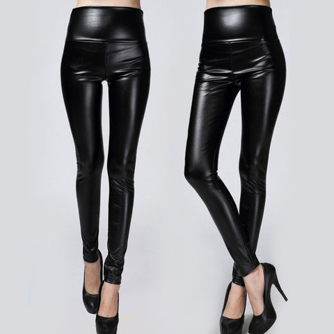 Winter Thickened Leggings Skinny Pants Women Black Leather Warm Pants