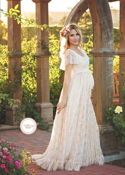 Women White Skirt Maternity Photography Props Lace Pregnancy Clothes Maternity Dresses
