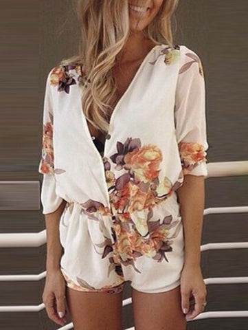 Casual Fashion Street Deep V Neck Big Floral Print Romper