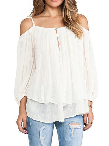 Popular Fashion Long Sleeve Straps Off-Shoulder T-Shirt Tops