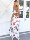 ByChicStyle White Floral Off-the-shoulder Split-side Maxi Dress