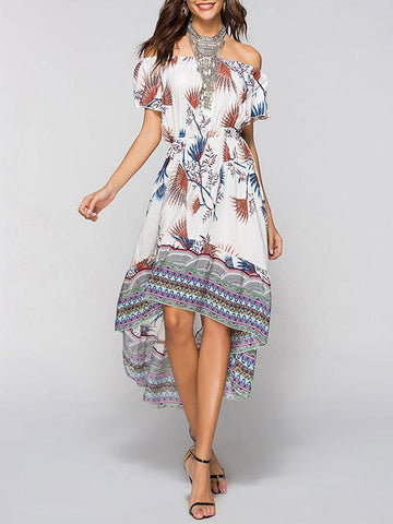 Off-the-shoulder Bohemia Midi Dress