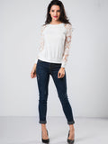 ByChicStyle Crew Neck Hollow Out Patchwork Plain Raglan Sleeve Sweatshirt - Bychicstyle.com