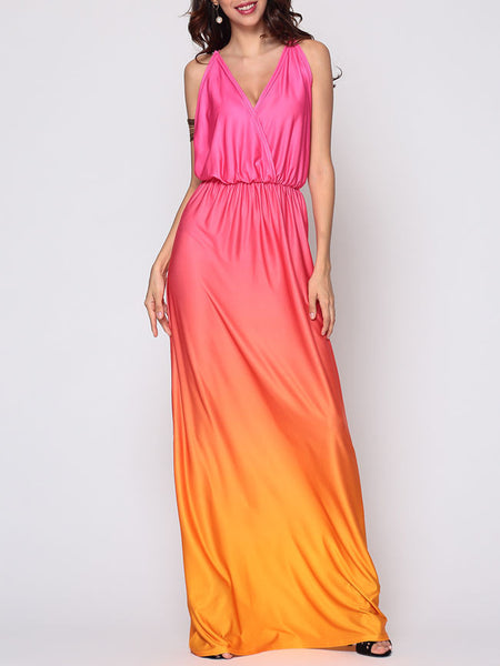Gradient Captivating Deep V Neck Maxi-dress - Bychicstyle.com
