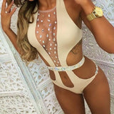 ByChicStyle Khaki Patchwork Rhinestone Cut Out Round Neck Fashion Swimwear