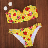 ByChicStyle Yellow Floral Bandeau Hollow-out 2-in-1 Open Back Swimwear