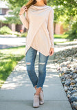 ByChicStyle Khaki Irregular Buttons Round Neck Long Sleeve T-Shirt