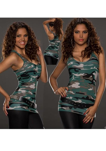 Green Camouflage Slim U-neck Sleeveless Polyester Casual Vest