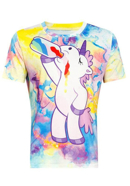 Blue Unicorn Print Round Neck Cute Sweet T-Shirt