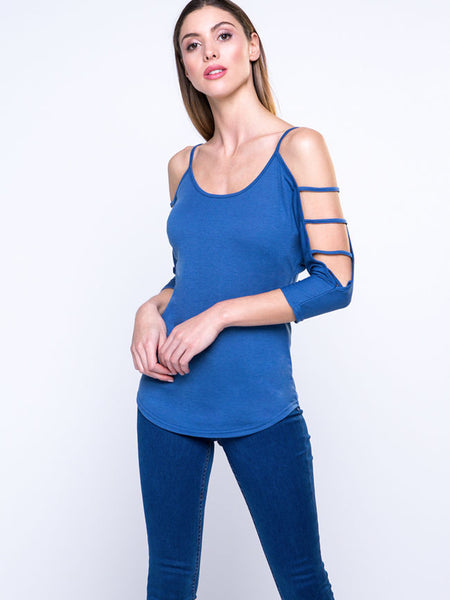 Open Shoulder Fashion Solid-Color Long Sleeve T-Shirt - Bychicstyle.com
