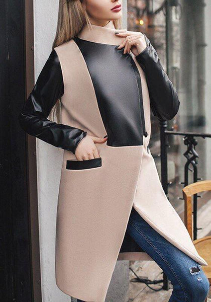 Khaki Patchwork Pockets PU Leather Band Collar Long Sleeve Wool Coat