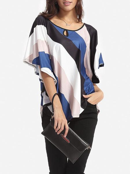 Color Block Striped Cape Sleeve Women's Boat Neck Short-sleeve-t-shirt - Bychicstyle.com