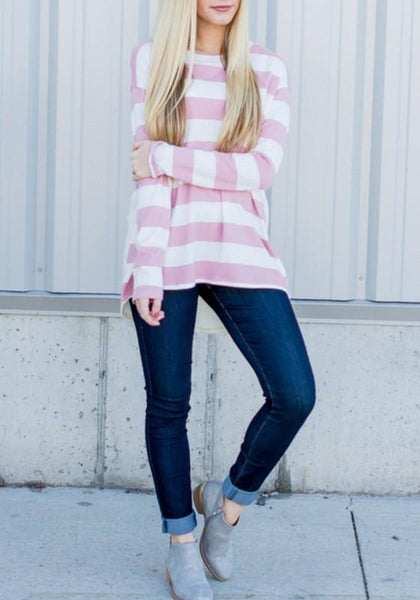 Pink-White Striped Draped Round Neck Long Sleeve Casual T-Shirt